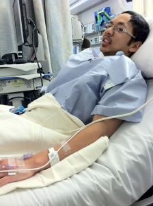 Surgery Day, in pre-op.