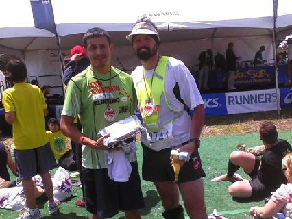Me & My Bro! Oswaldo Lopez, winner of the 2011 Badwater 135 mile ultra marathon that runs through Death Valley at the peak of summer 135 degree heat to Mt. Whitney Portals...Guy has heart! He's a friend & hero, came in 4th at 2hrs 41 mins at 40 years old! So much inspiration training with him and to share this with my friend was awesome!