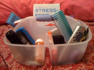 my basket: glasses, klenex, lotion, meds, phone, remotes, etc...