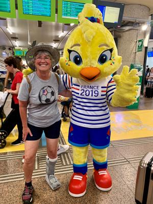 Ettie (World Cup mascot) and me in my boot