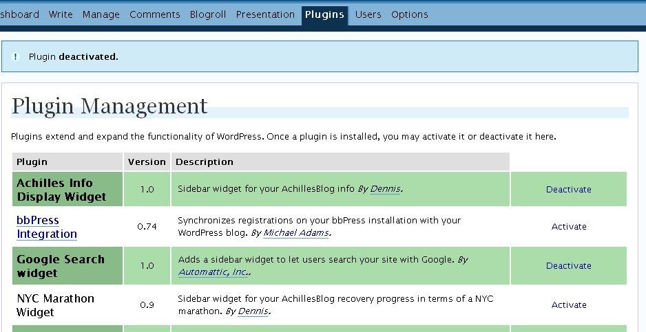 Achilles Widget Plugin Activate