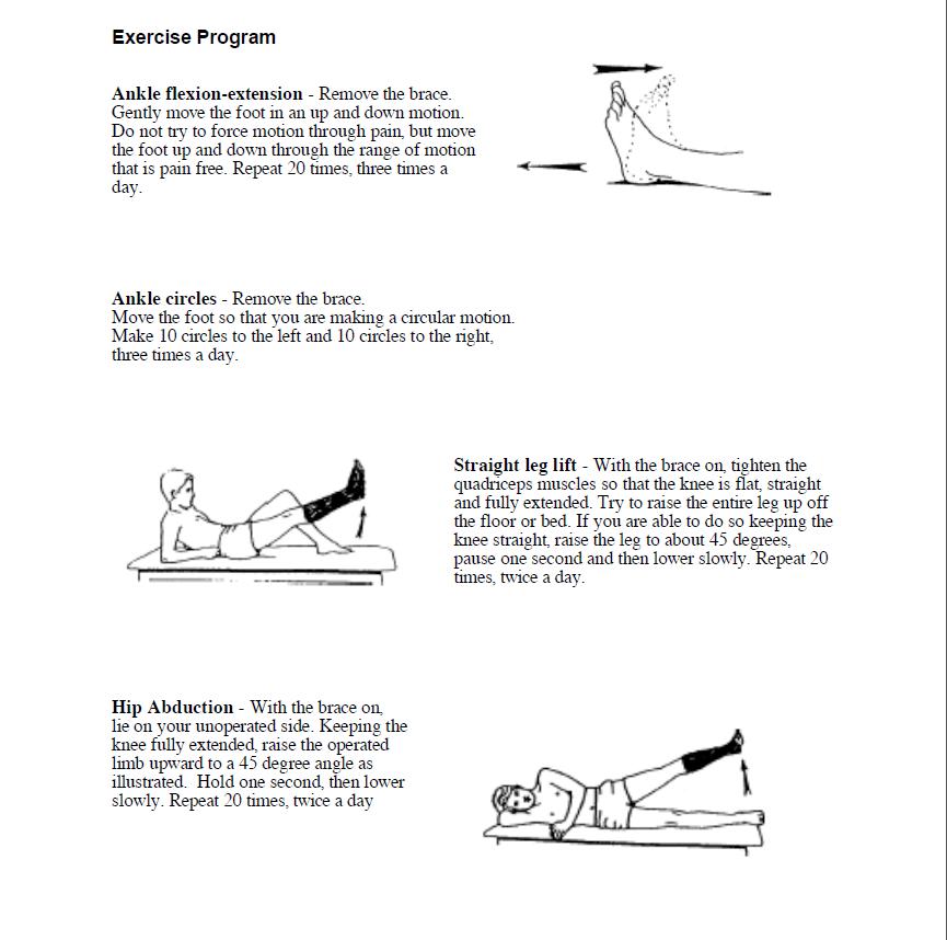 Exercises weeks 3-8 post-Op
