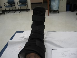 The final product! Back into my walking boot. Melinda was just putting on the straps, when she was shaking and told me I had to wait to take the picture so her boobs don\'t end up on the internet!!